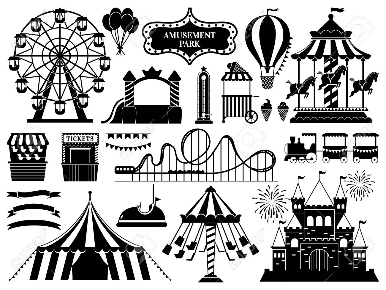Amusement park silhouette. Carnival parks carousel attraction, fun rollercoaster and ferris wheel attractions. Amuse circus carousel, air balloon and castle. Isolated vector icons set - 120307807