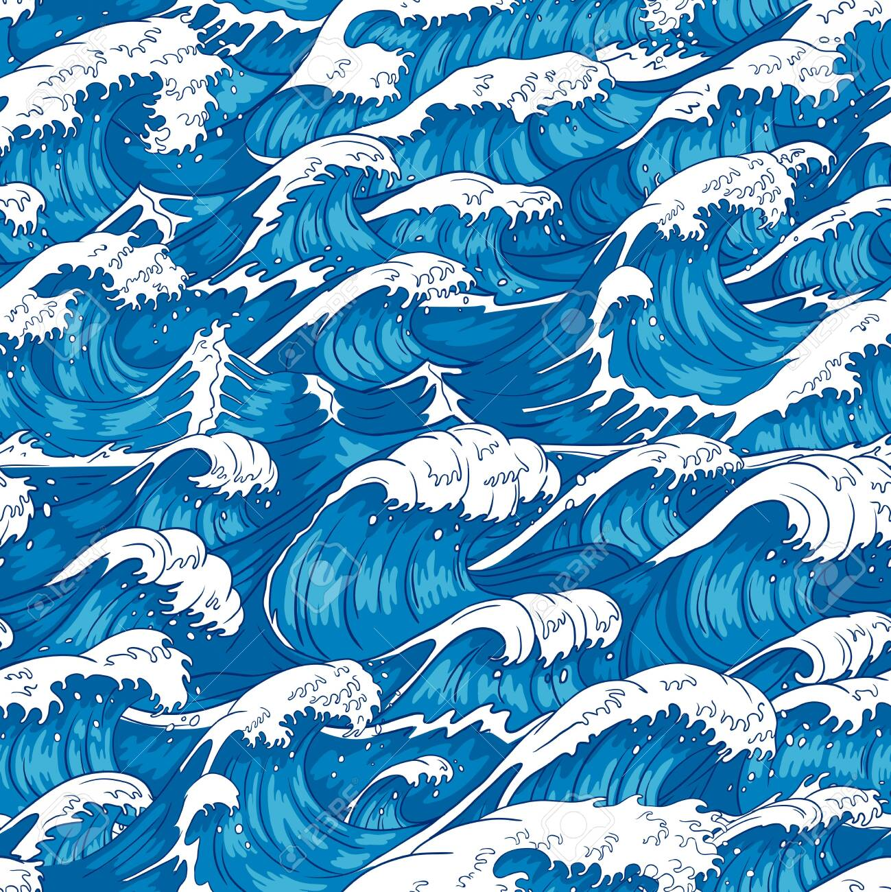 Storm Waves Seamless Pattern Raging Ocean Water Sea Wave And