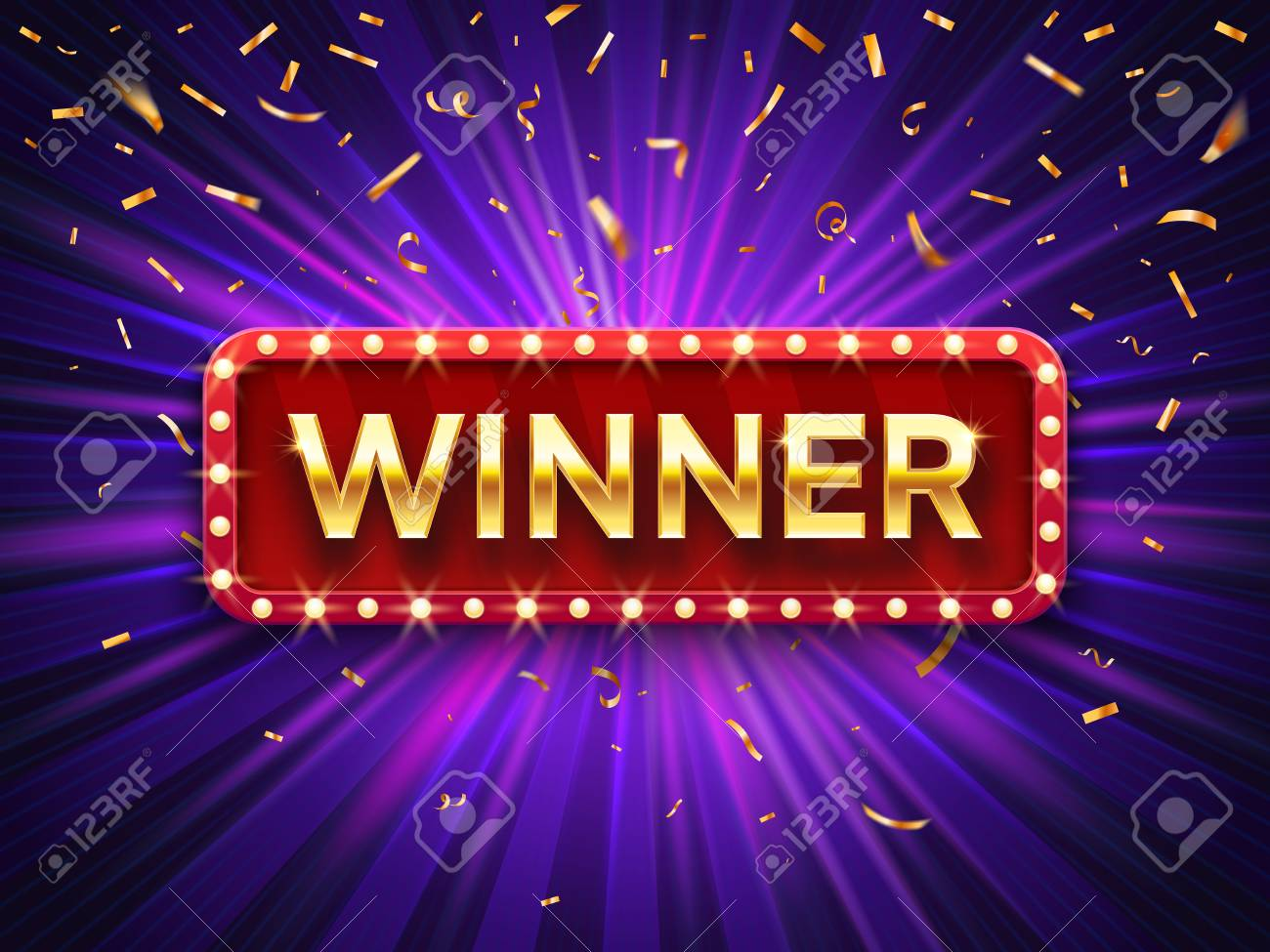 Winner banner. Win congratulations vintage frame, golden congratulating framed sign with gold confetti. Winners lottery game jackpot prize logo vector background illustration - 120732505