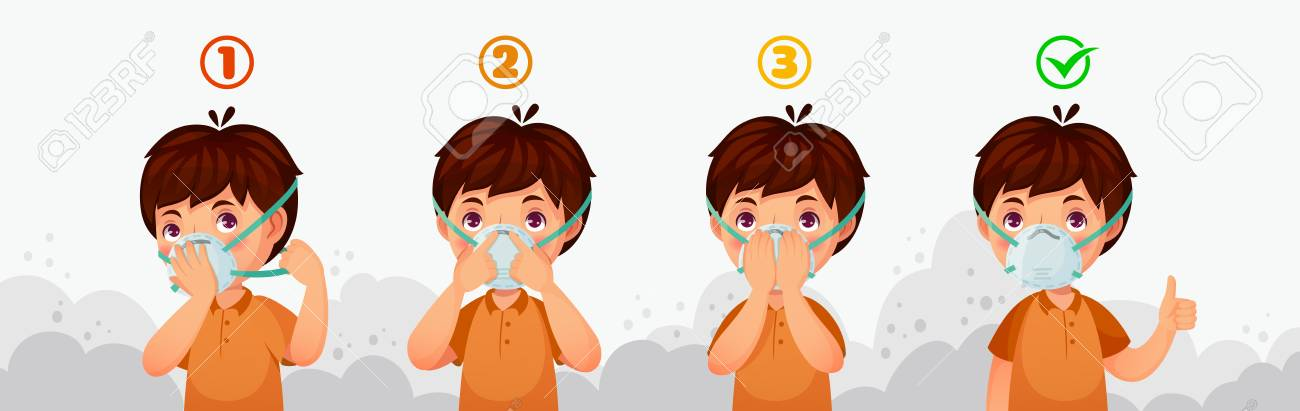 Mask N95 instruction. Child air pollution protection, dust protective safety breathing masks and PM2.5 defence. Boy character wear dirty smog air safety mask cartoon vector illustration - 123603394