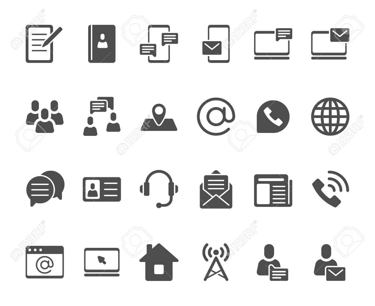Contact icons  Telephone contacts silhouette, address book icon