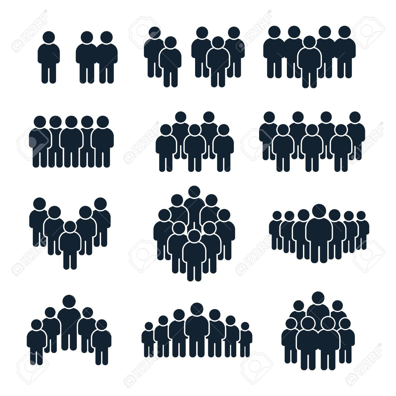 People group icon. Business person, team management and socializing persons silhouette icons. Leadership unity profile avatars, businessman community social site user isolated vector symbols set - 129433908