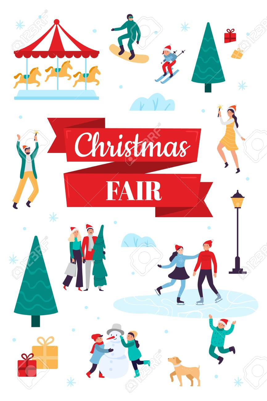 Winter Festival 2020.Christmas Fair Winter Holiday Poster Snow Festival And Xmas