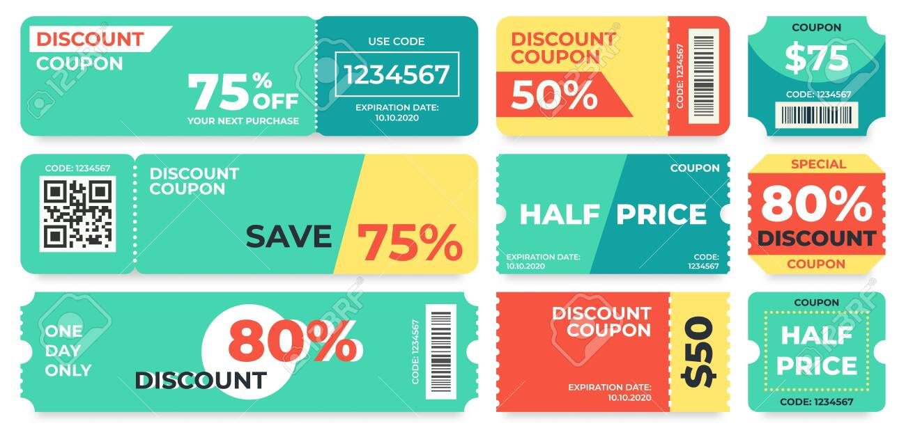 Discount Coupon Half Price Offer Promo Code Gift Voucher And Royalty Free Cliparts Vectors And Stock Illustration Image 133812799