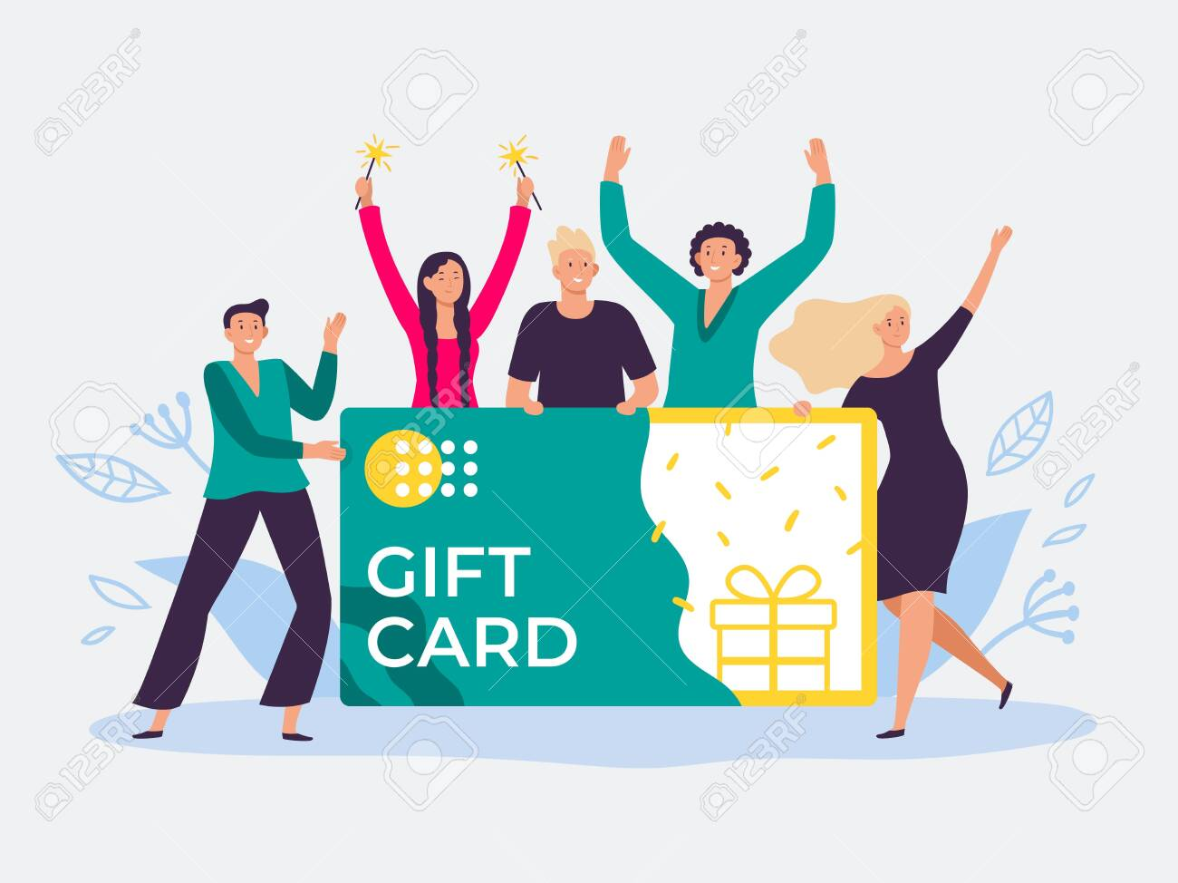Gift card voucher. Gift certificate, discount cards for customers and happy people hold gift coupon. Shopping voucher prize winning flat vector illustration - 133814079
