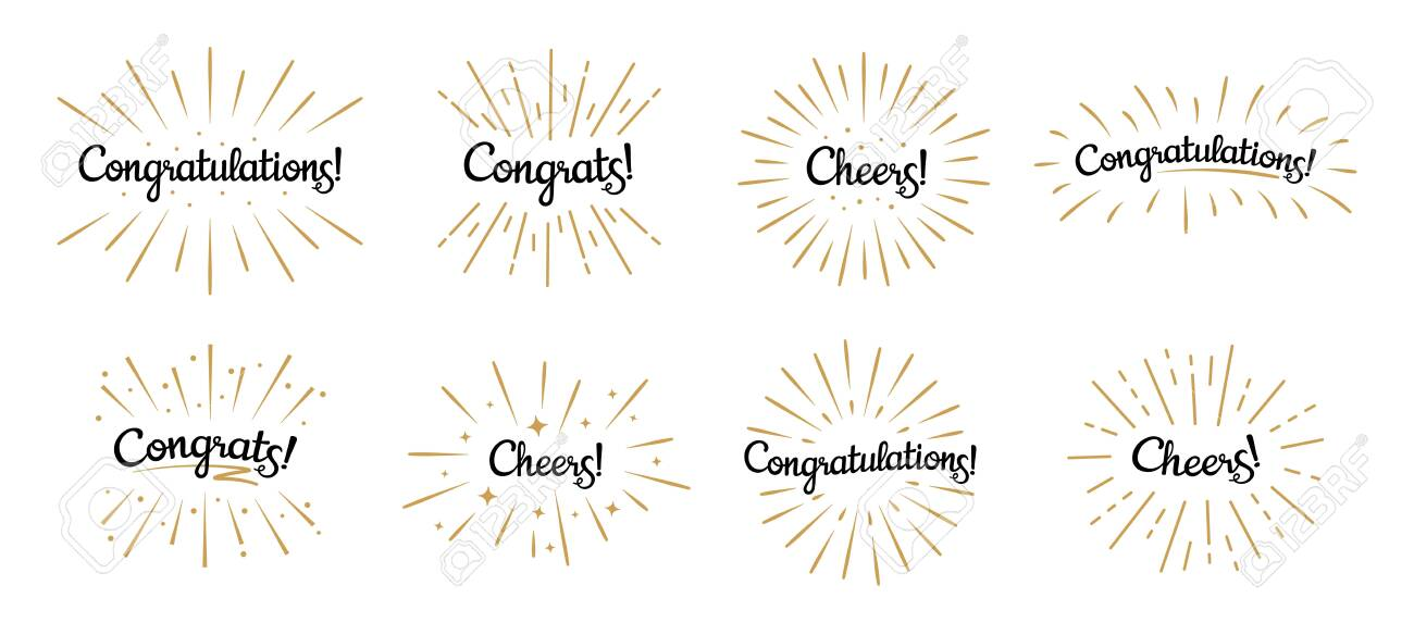 Congratulations lettering. Congrats label, cheers celebration and congratulation text badges with golden burst. Congrats quotation card. Isolated vector symbols set - 136076366