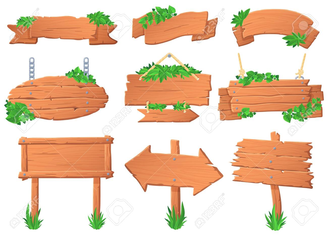Wooden signboard with leaves. Tropical leafs on wood board, green label sign and jungle forest pointer boards vector set. Collection of signposts, guideposts and hanging banners overgrown with plants. - 140867750