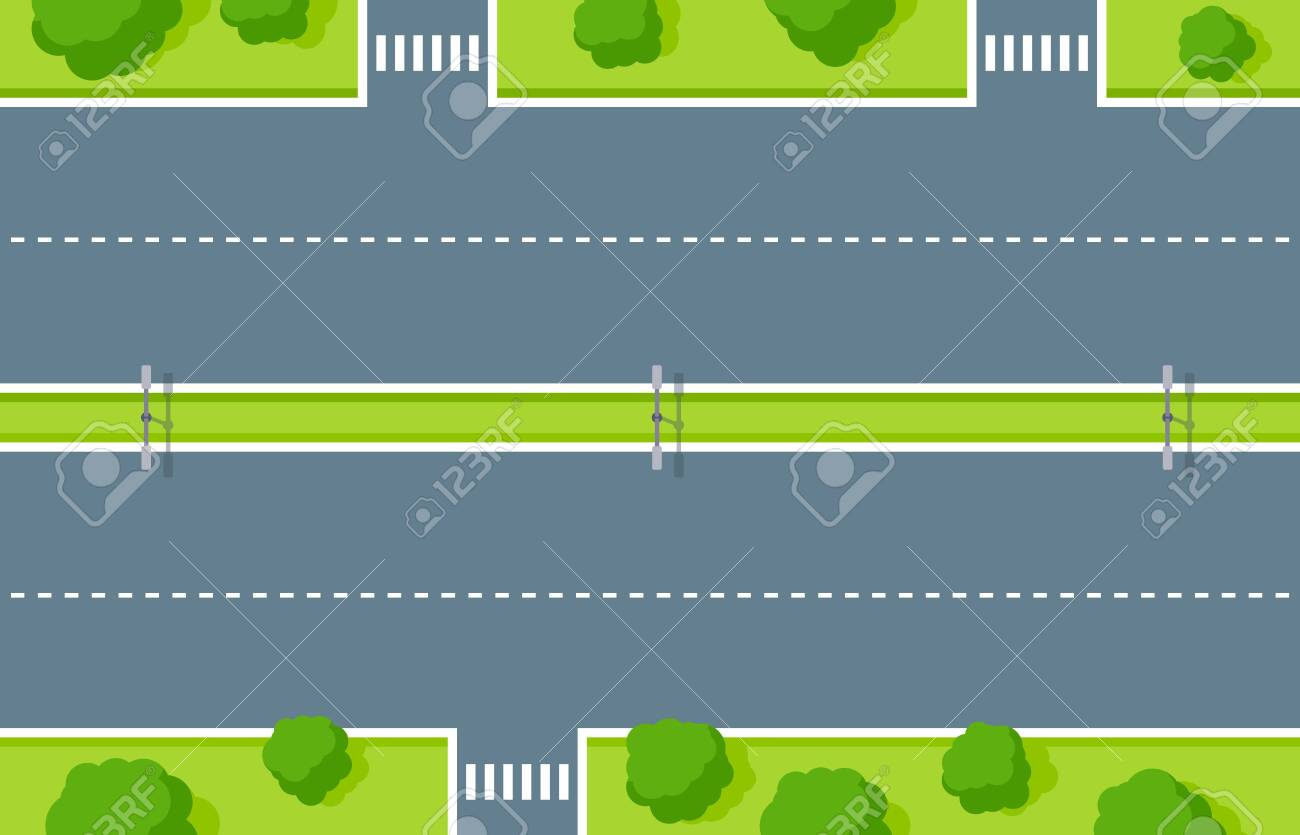 Empty highway top view. Road asphalt with pedestrian crossing, white dashed stripes, lightning and green zone with trees and bushes. Road marking for vehicles and walkers vector illustration - 151973606
