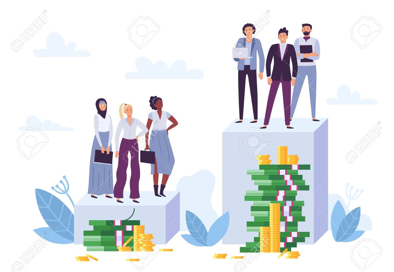Gender gap and inequality in salary. Woman discrimination, sexism and injustice. Diverse female employees having lower position and money pile. Man business workers having bigger salary vector - 152001046