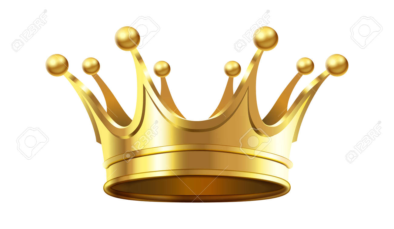 Realistic gold crown for royal family members. Accessory for monarch luxury coronation ceremony. Realistic 3d diadem for queen or king, prince or princess isolated on white vector illustration - 155499969