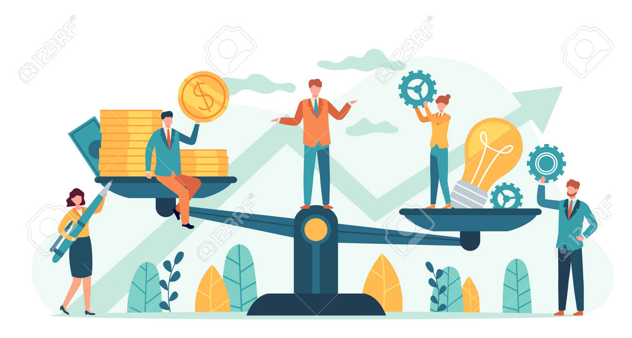 Money and idea balance. Investor compare business ideas and finance on scales. Buying creative project or startup, tiny human vector. Illustration idea equality profit, harmony and balance investment - 159247750