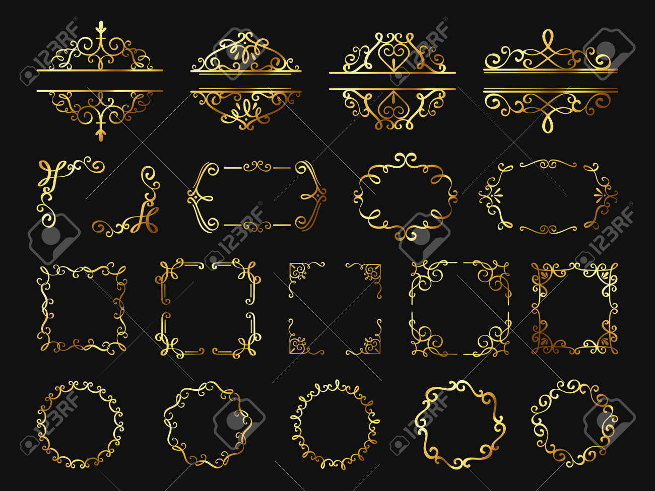 Retro golden frames. Vintage gold borders and corners, classic ornament element. Photo frame, cover, wedding or certificate decor vector set - 168393453