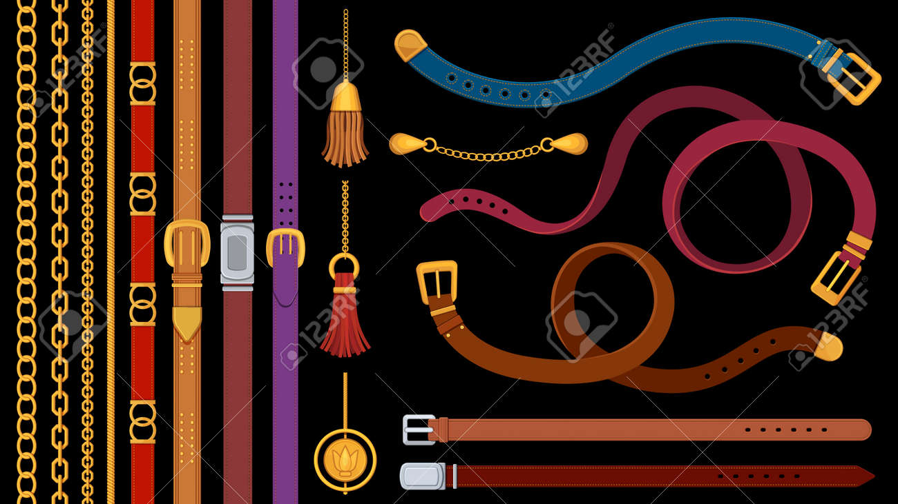 Chain belts. Brushes golden chains and leather belt with metal buckle. Jewelry pendant, fringe, strap and braids. Fashion element vector set - 171249126