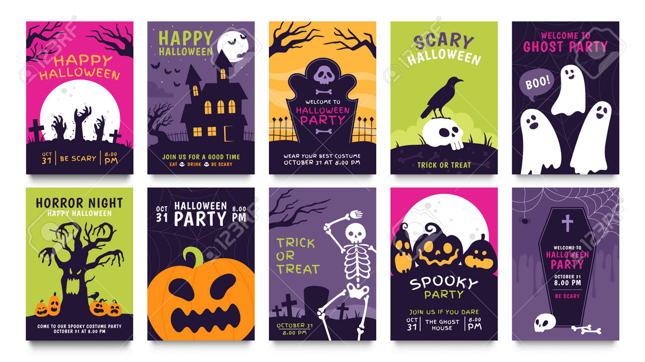 Posters for halloween party. Horror movie night flyer, ticket and trick or treat invitation with skeleton, zombie, scary pumpkin vector set - 171829638