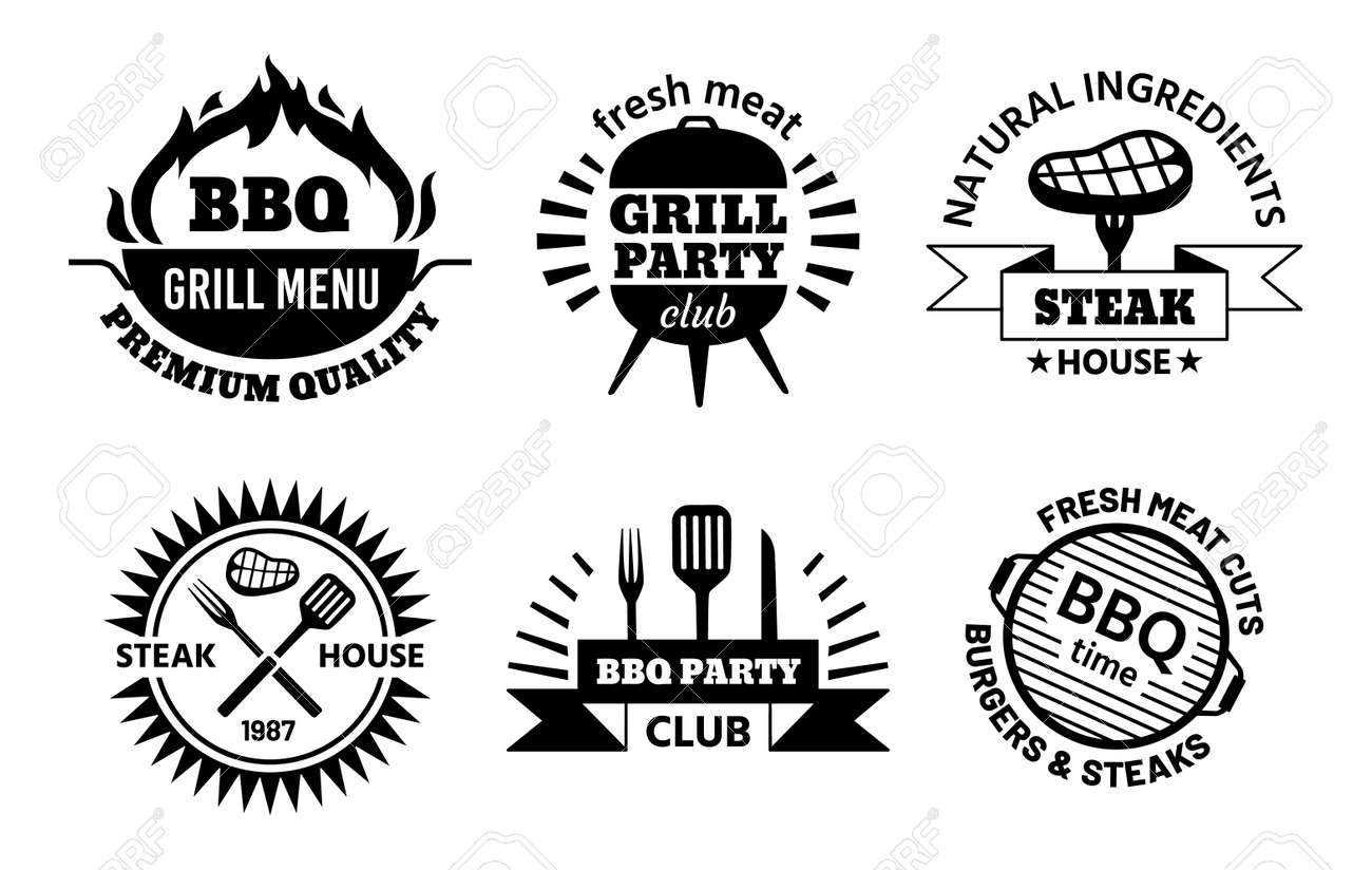 Bbq logo. Barbecue and steak house emblems for restaurant menu. Bbq club labels with hot grill, meat, sausage and cooking tools vector set - 171829645