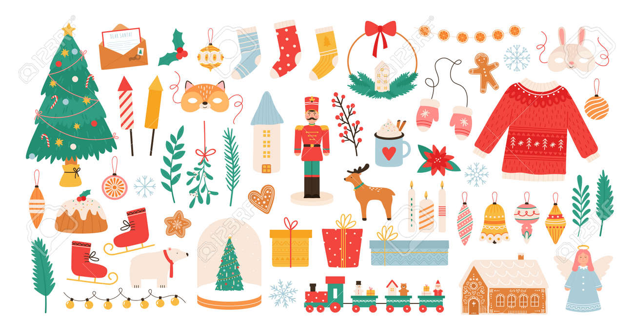 Christmas stickers. Winter holiday decorations, xmas tree, gift boxes, baubles, masks, candles and gingerbread man. New Year flat vector set - 171876816