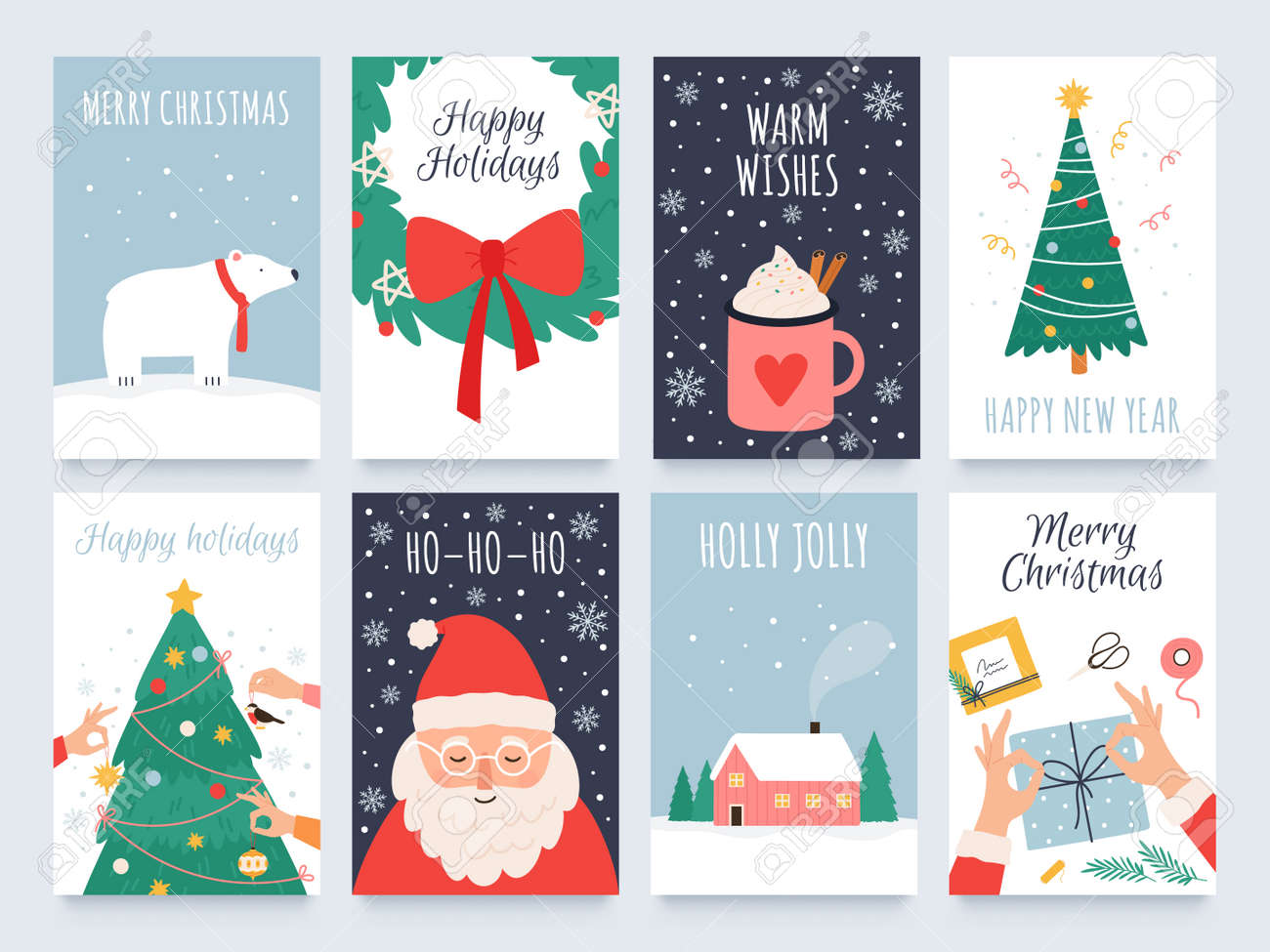 Scandinavian christmas cards. Cozy winter holiday, noel and new year celebrations with cute santa, polar bear and tree decoration vector set - 171876903