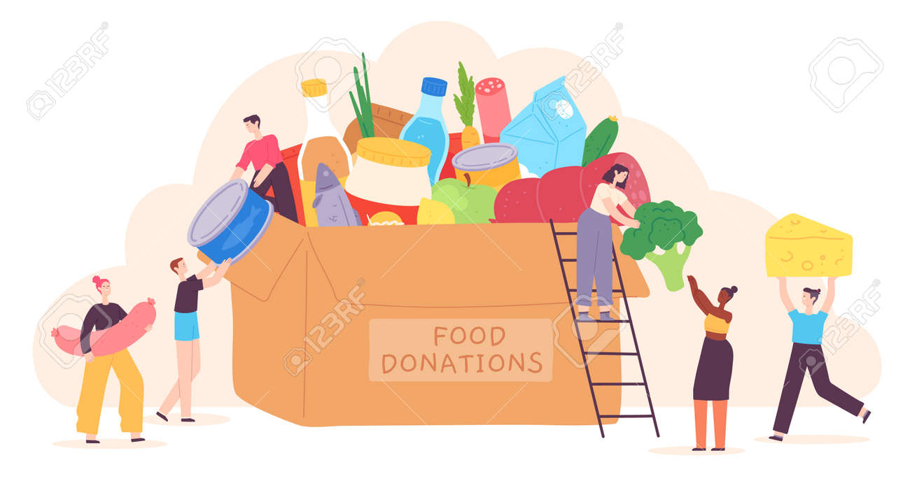 People donate food. Tiny characters put grocery product in charity box. Volunteer community help for poor. Holiday food drive vector concept - 171876806