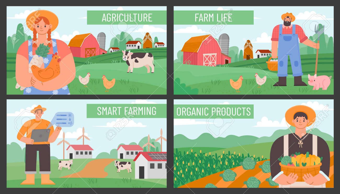 Farm banners. Posters with countryside agriculture landscape and farmers. Smart and eco farming technology. Organic farm products vector set - 171876774