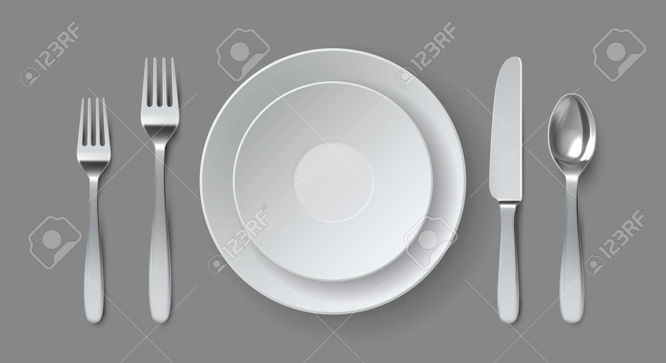 Realistic table serving. Round dining plate with forks, knife and spoon. Restaurant empty dish and cutlery close up top view vector mockup - 171877464