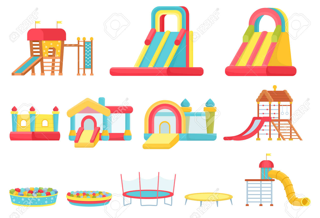 Cartoon trampolines. Children play room elements, inflatable castles and slides, game house and soft ball pool. Indoor playground vector set - 171877248