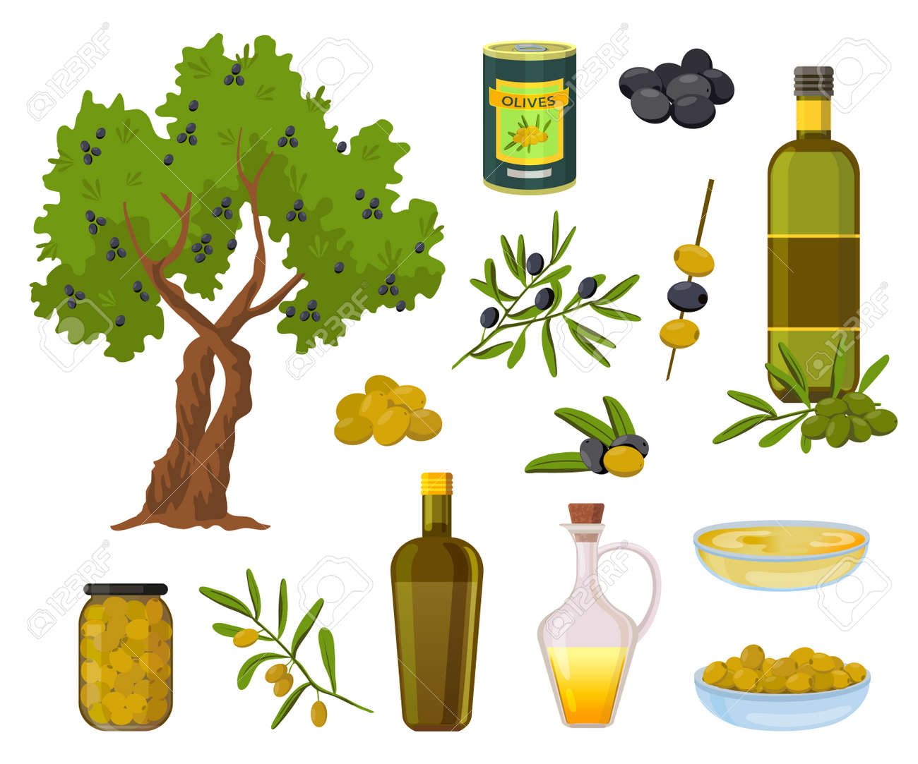 Cartoon olive products. Black and green olives in jars, healthy virgin oil in bottles and bowl. Olive tree and branch with leaves vector set - 171877537