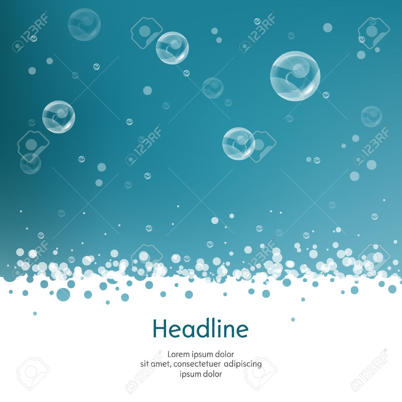Bubbles with straw on blue background. Isolated. Vector illustration. 10 EPS - 51265464