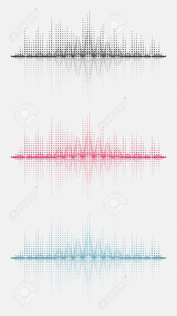 Three sound wave. Vector illustration. Isolated. 10 EPS - 51419214