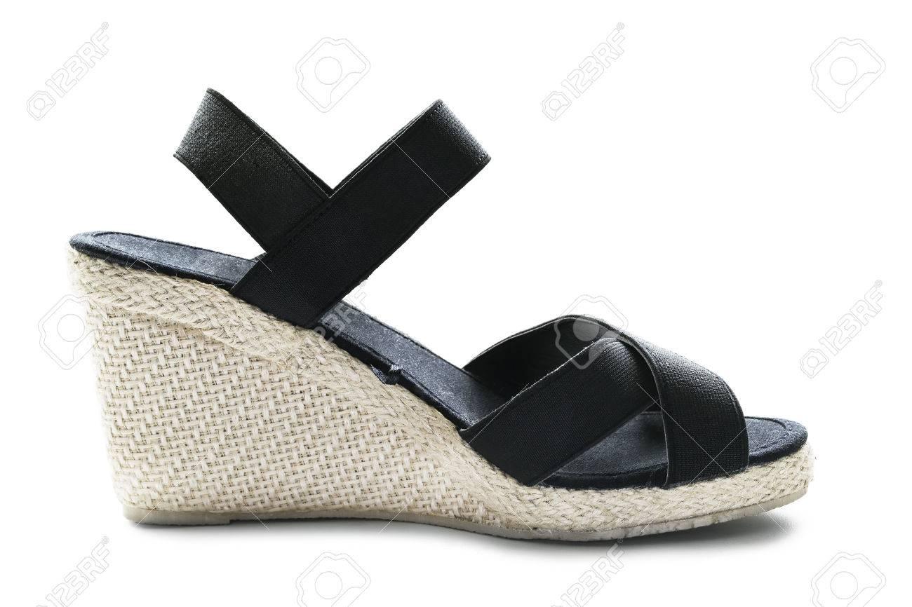 9025f788adc Wedge heeled black slingback isolated over white Stock Photo - 29034246