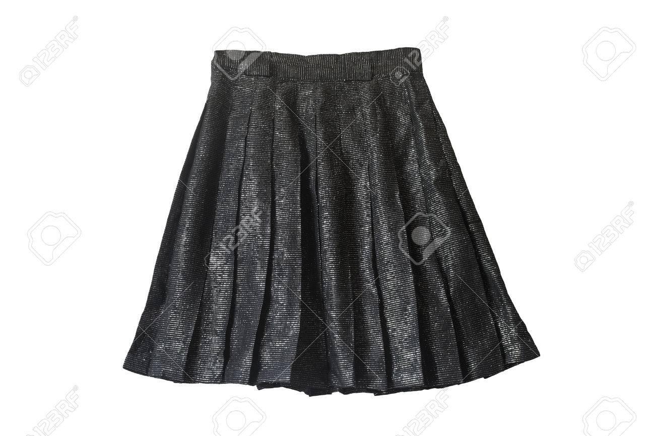 65b8c1b9a73eaa Zwart metallic glanzende geplooide rok geïsoleerd over wit Stockfoto -  31371866