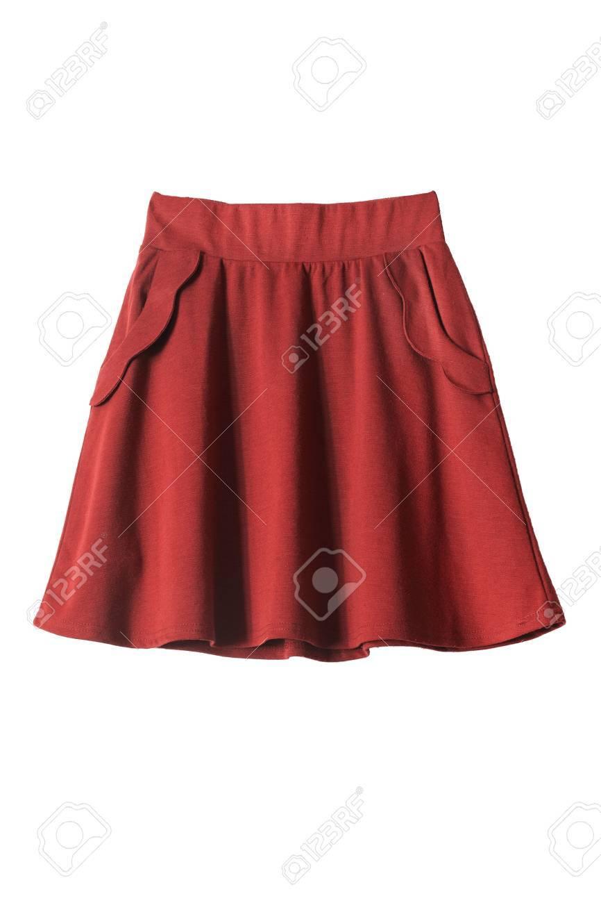 Red Jupe Drapee Avec Des Poches Isole Sur Blanc Banque D Images Et Photos Libres De Droits Image 31739633