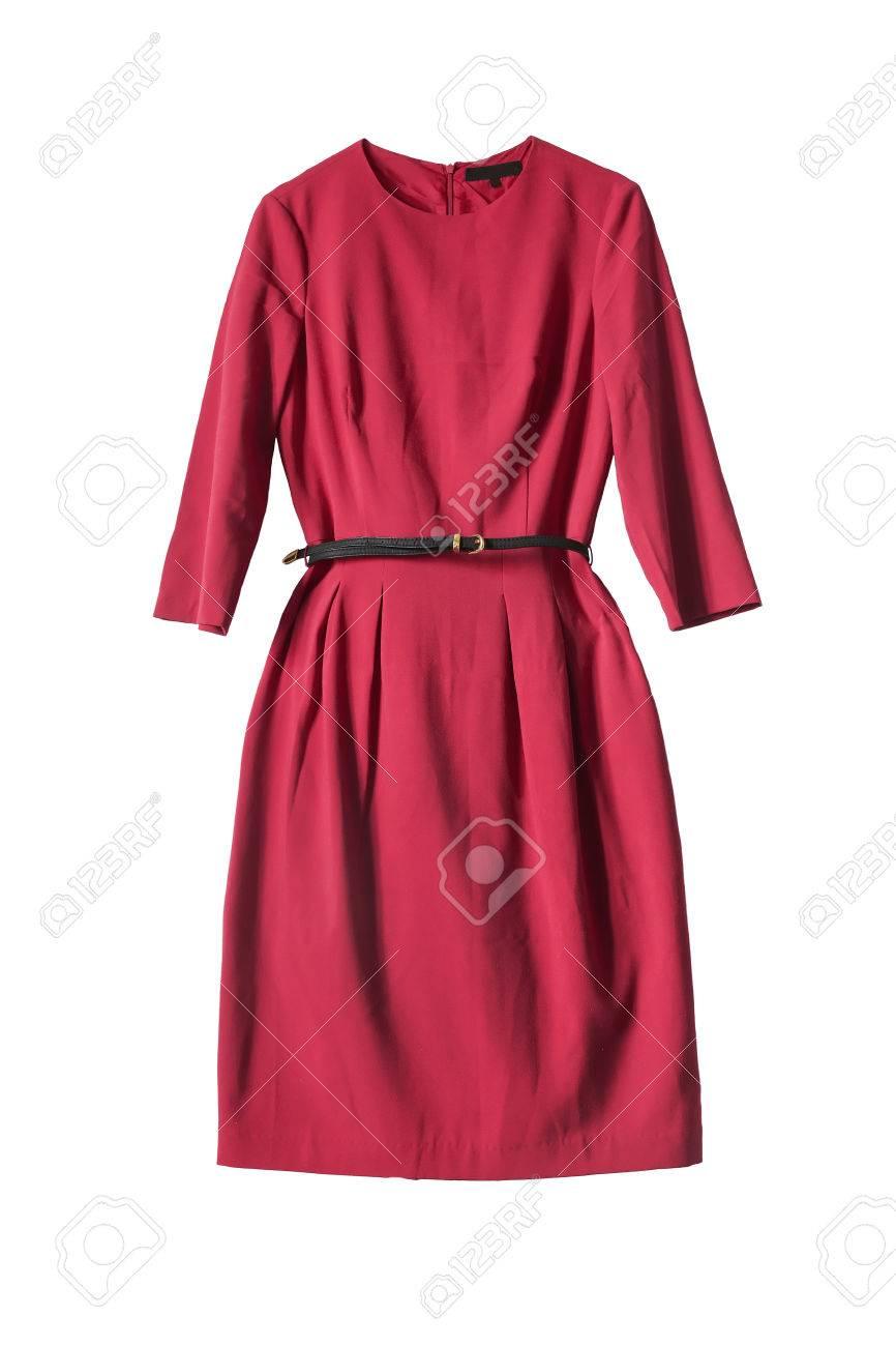 bajo precio 764c8 127e8 Vestido rojo con cinturón de cuero aislado sobre blanco