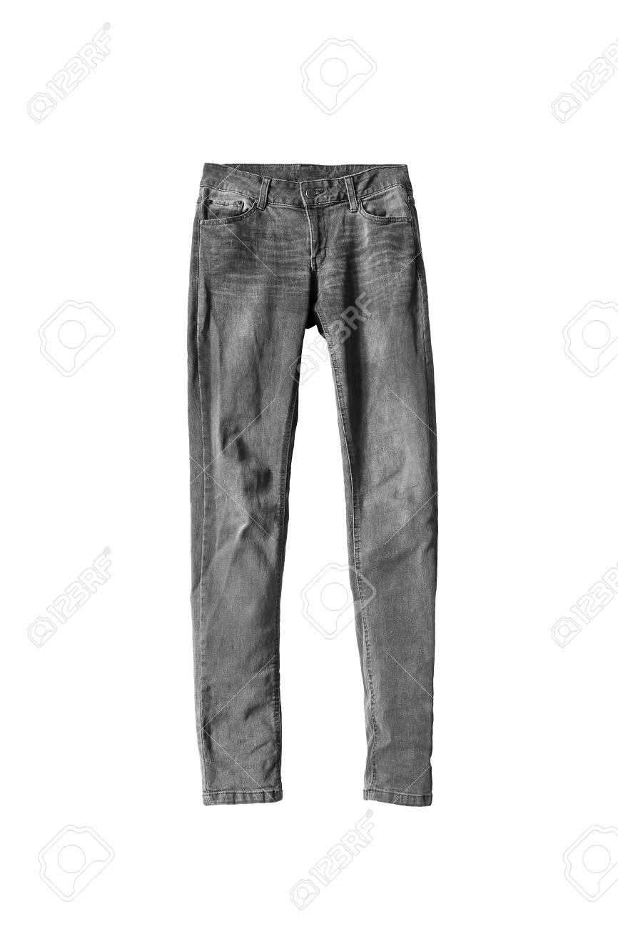 c2bfbb962 Foto de archivo - Pantalones vaqueros clásicos grises sobre fondo blanco