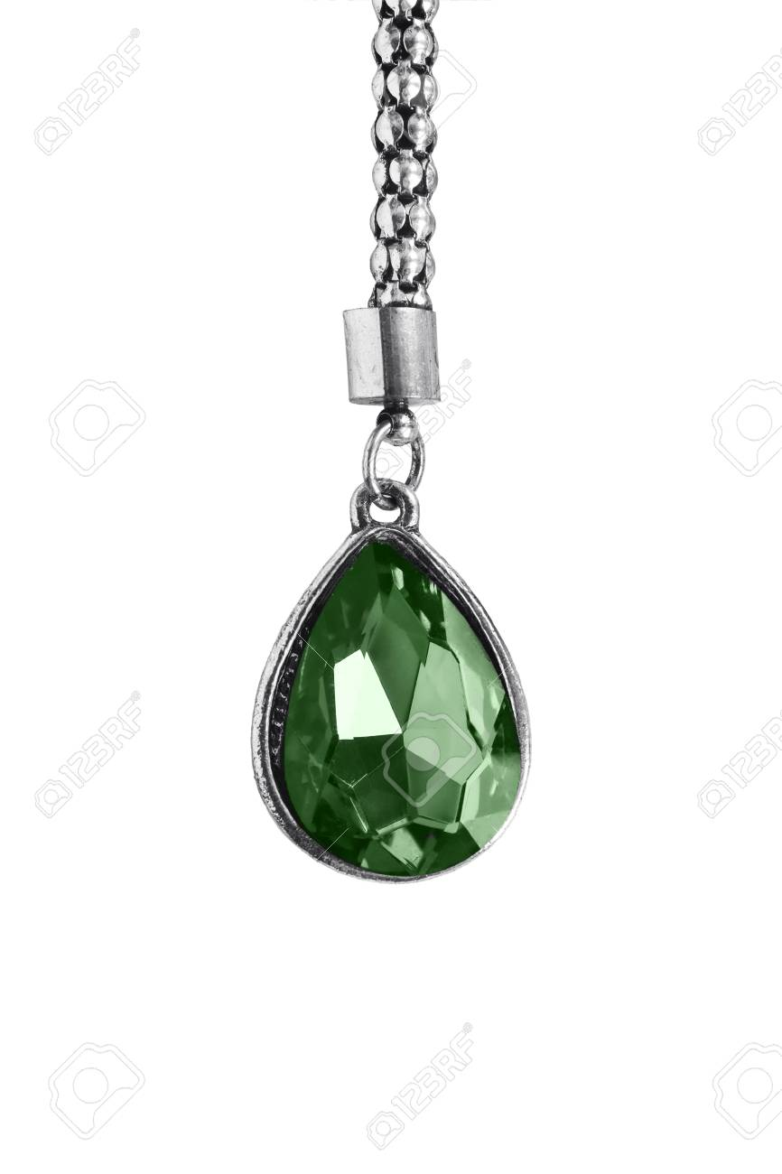 Big emerald pendant on silver chain isolated over white stock photo big emerald pendant on silver chain isolated over white stock photo 34372010 aloadofball Choice Image