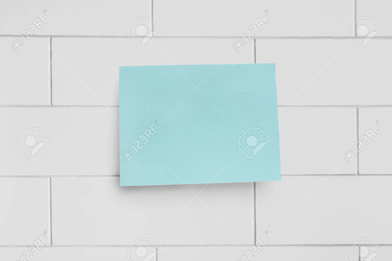 Blank Cyan Sticker On Brick Wall As A Background