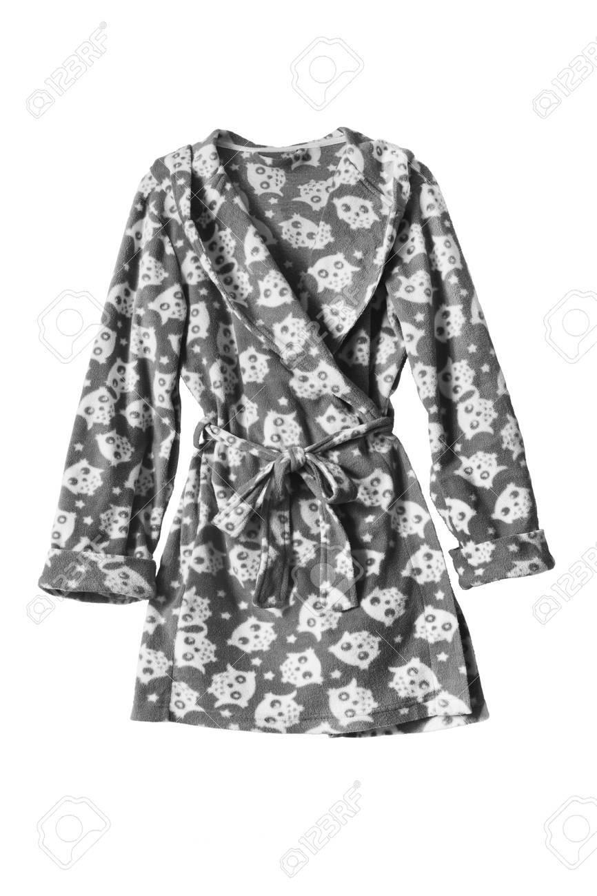 Short fleece female bathrobe isolated over white - 37405541