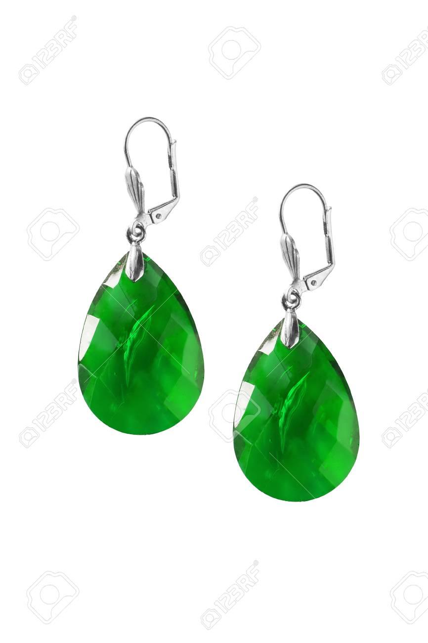halve prijs gratis bezorging lage prijs Green emerald oorbellen geïsoleerd via Wit