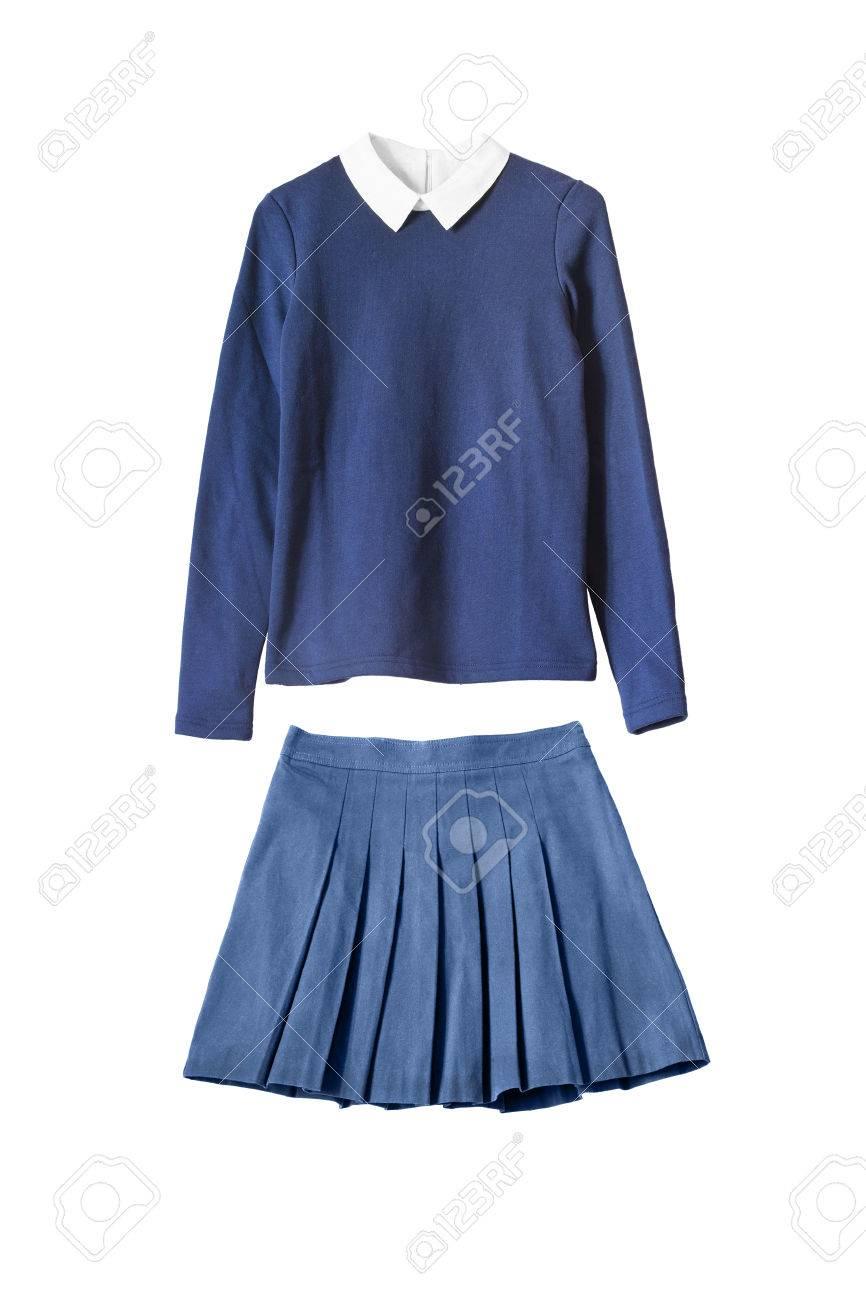 3c247cdc78f92 Azul uniforme escolar niña aislado más de blanco Foto de archivo - 40009271