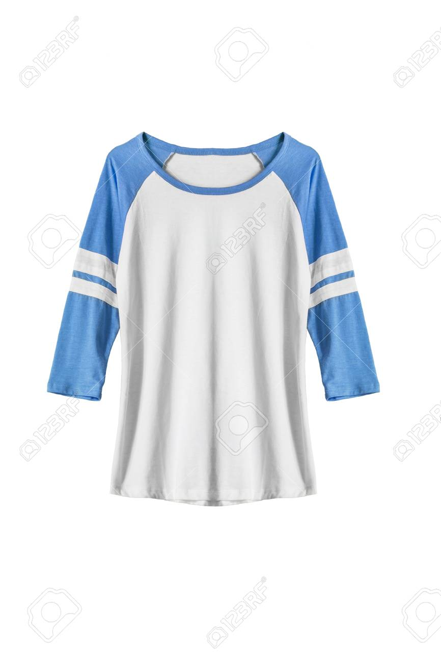 ca1418571bbf Sport shirt with blue sleeves isolated over white Stock Photo - 40923100