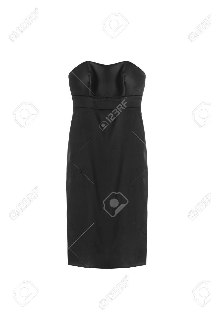 5a14e6ff36 Foto de archivo - Vestido básico de seda negro sobre fondo blanco