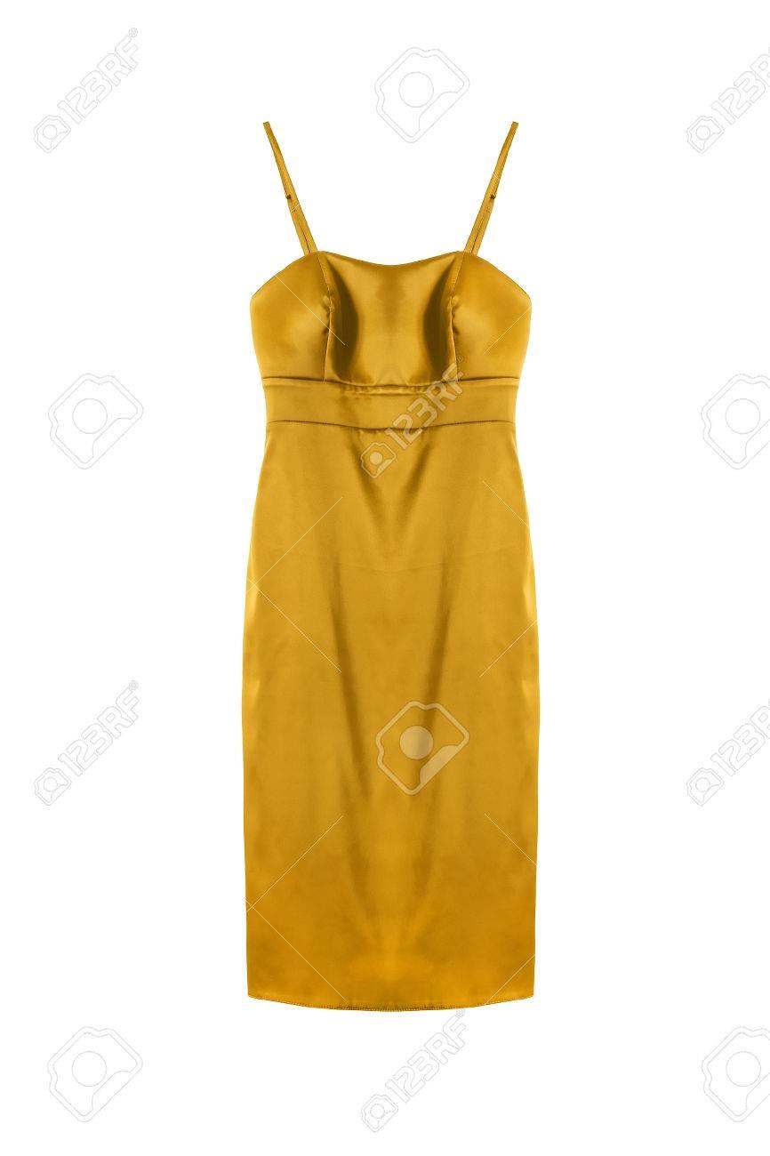 d9558f1106 Foto de archivo - Vestido de cóctel de satén de oro sobre fondo blanco