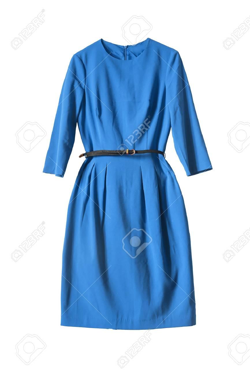 Elegante Vestido Azul Sobre Fondo Blanco