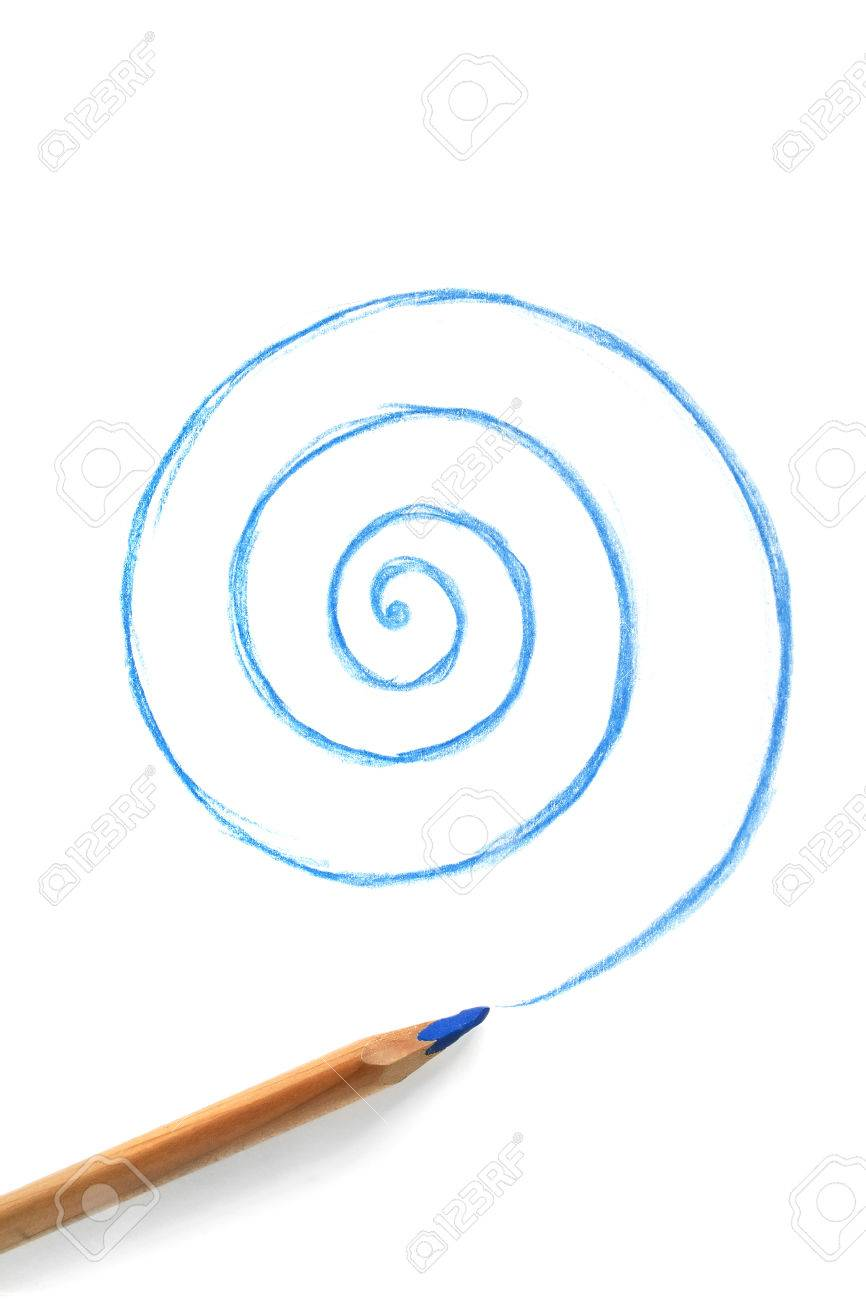 Blue Pencil Drawing Spiral On White Background Stock Photo, Picture ...