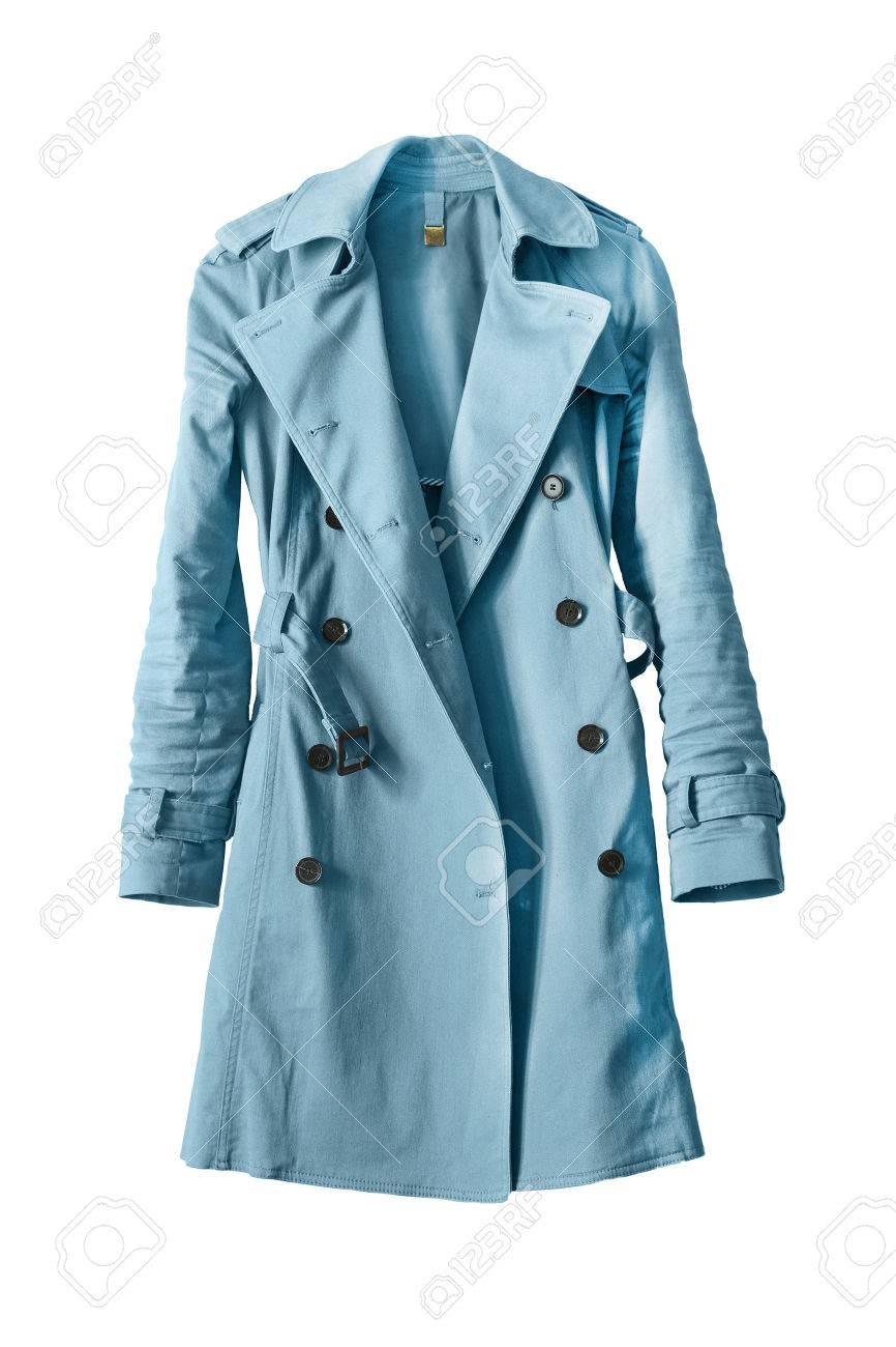 newest 957a1 106bf Elegant blue trenchcoat on white background