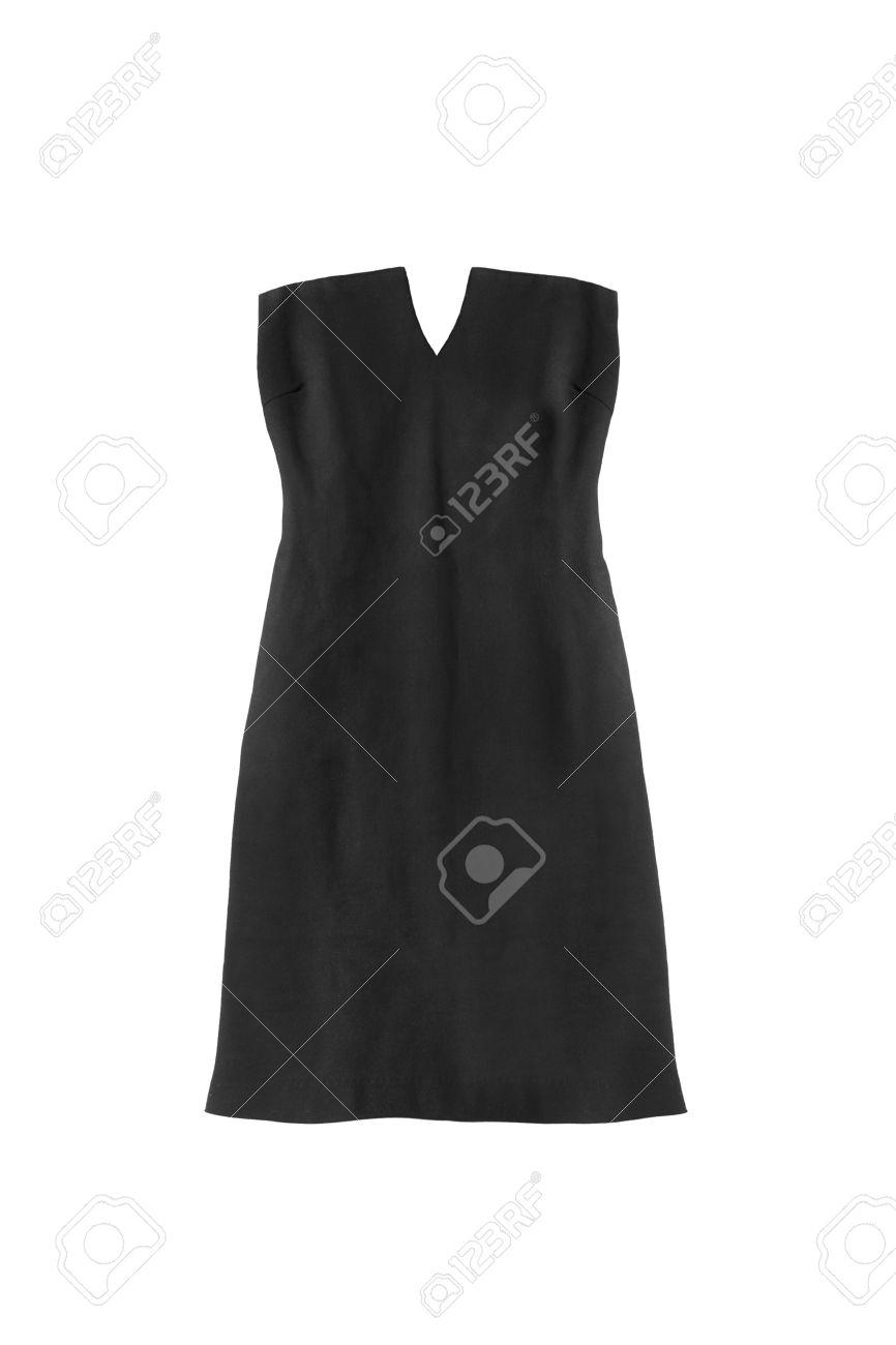 287f25febf Foto de archivo - Negro vestido de cóctel sin tirantes en el fondo blanco
