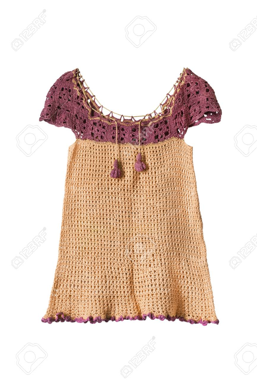 d22a378fd137 Knitted Yellow Baby Sundress Isolated Over White Stock Photo ...