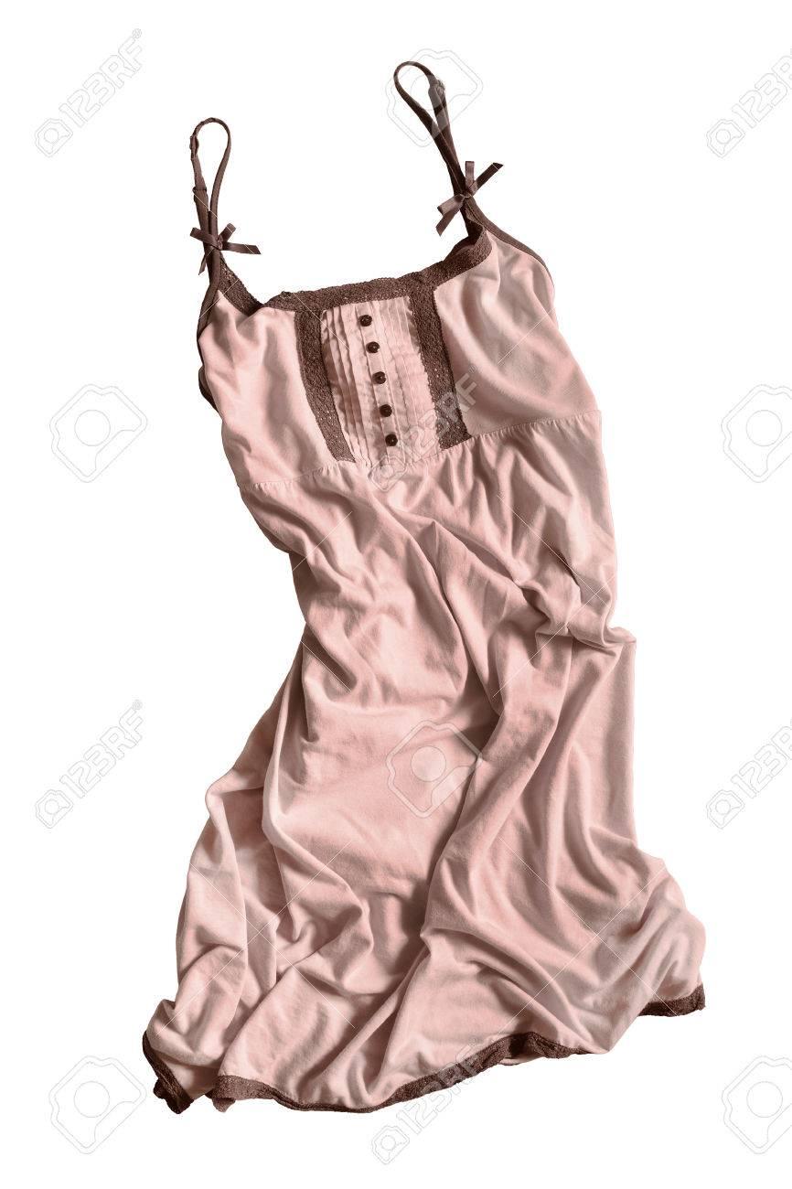 2e5c8f2c38 Arrugado vestido de algodón de color beige sobre fondo blanco Foto de  archivo - 58827917