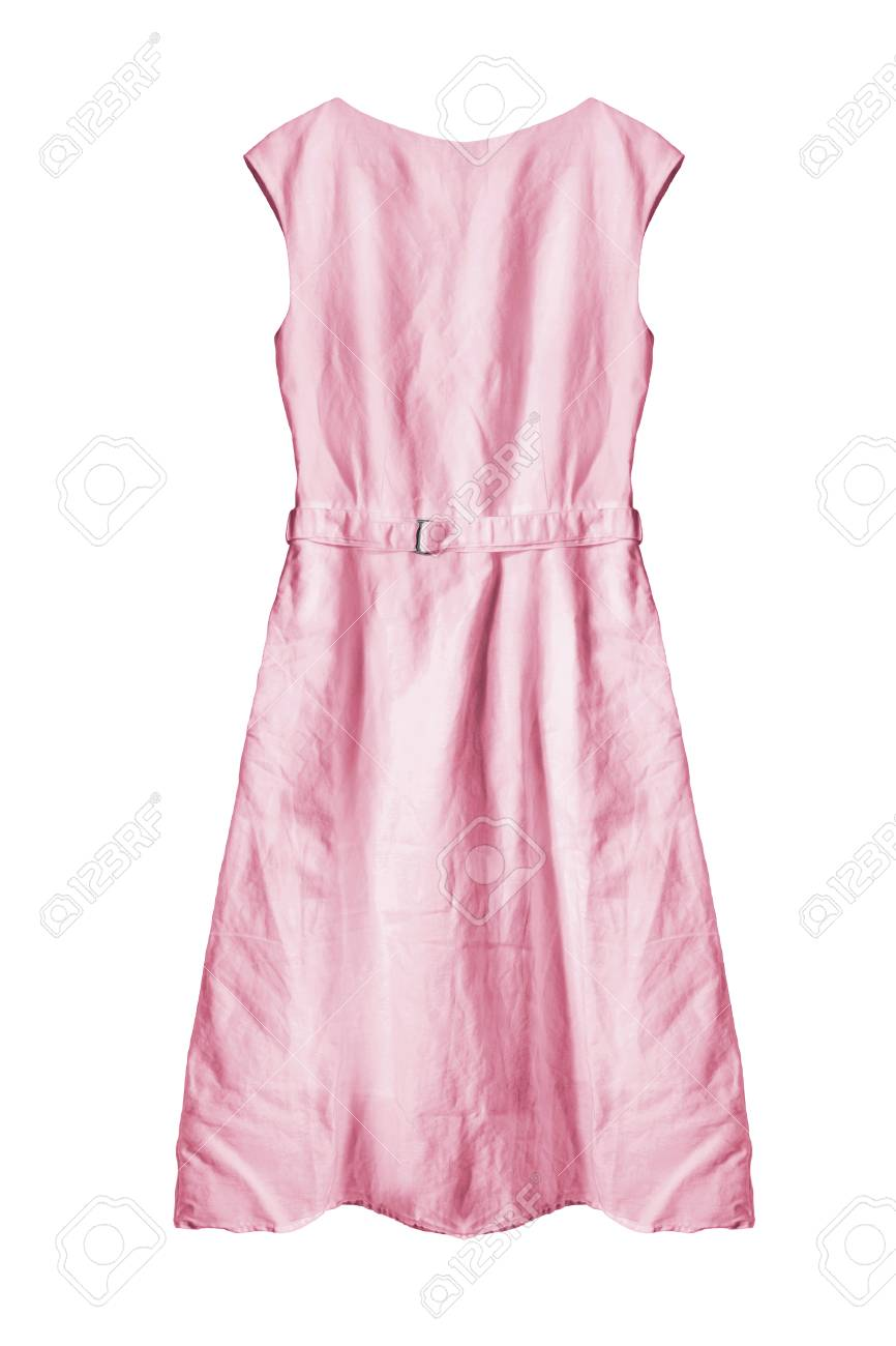 74f5d0af3a Foto de archivo - Vestido básico de algodón de color rosa aisladas sobre  blanco