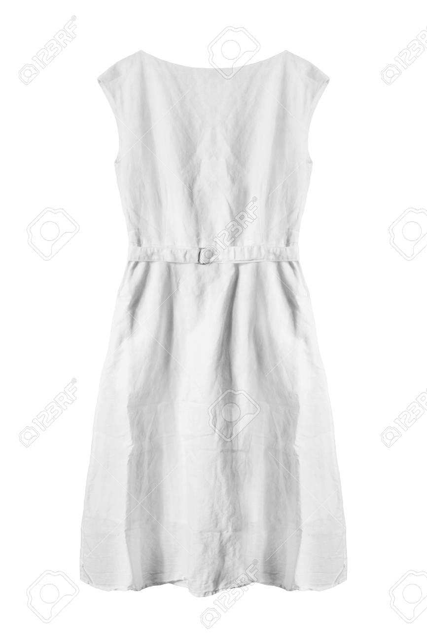 5aead10556 Foto de archivo - Vestido de lino blanco básico en el fondo blanco