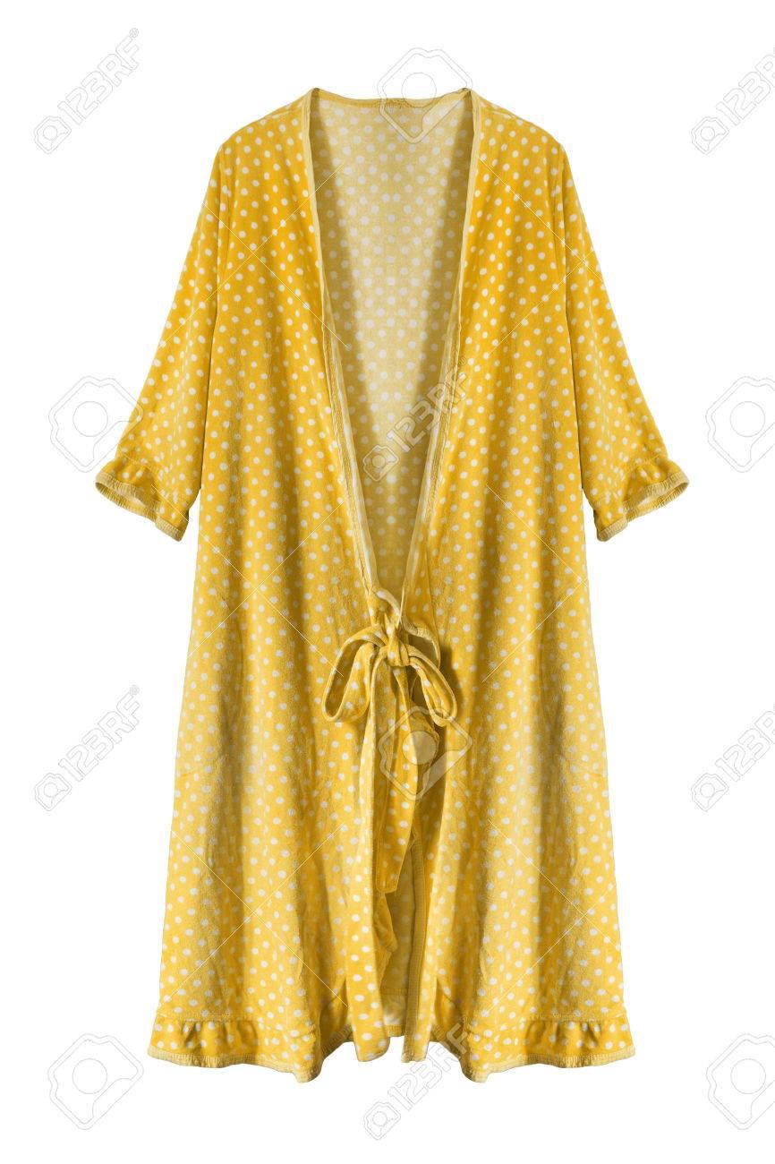 Banque Du0027images   Robe De Chambre Jaune Isolé Sur Blanc